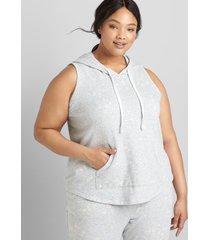 lane bryant women's livi sleeveless hooded sweatshirt 10/12 heather gray