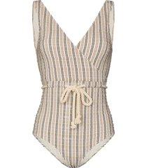 lisa marie fernandez yasmin stripe seersucker swimsuit - neutrals
