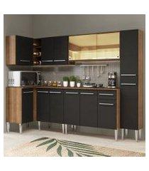 cozinha completa de canto madesa emilly wave com armário vidro reflex, balcão e paneleiro rustic/preto rustic/preto