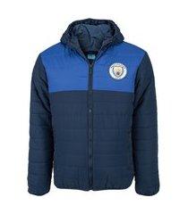jaqueta manchester city com capuz masculina padding recortes
