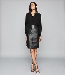 reiss editha - pleat detailed blouse in black, womens, size 12
