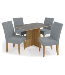 conjunto mesa lótus c/ 4 cadeiras freijó/cinza kappesberg