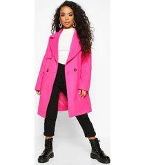 petite wool look pocket detail coat, bright pink