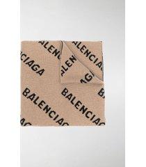 balenciaga all-over logo scarf