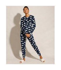 pijama manga longa de fleece estampado de nuvens azul marinho