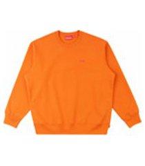 supreme moletom com logo - laranja