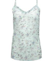 blusa estampada de tiras en chiffon color blanco, talla 14