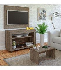 sala de estar completa para tv até 32 polegadas cristal canela - artely