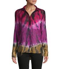 young fabulous & broke women's abstract-print long-sleeve shirt - blue safari - size xs