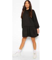 tall gesmokte sweatshirt jurk, black