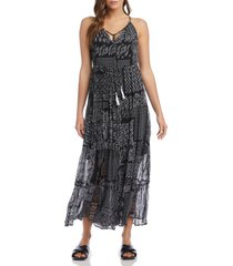 women's karen kane patchwork print tiered maxi dress, size x-large - black