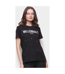 camiseta colcci millennials ilhós feminina