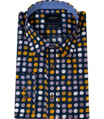 adam est 1916 adam overhemd casual under buttondown stippenprint blauw