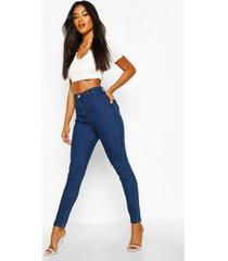 disco jeans met hoge taille, middenblauw
