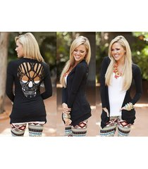 gothic hollow out crochet lace skull women ladies cardigan wrap top shirt solid