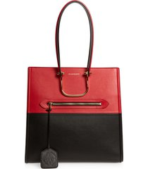 alexander mcqueen the tall story colorblock leather tote - black