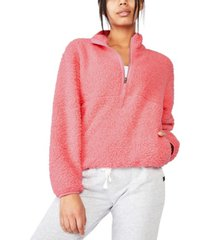 cotton on women's sherpa zip fleece sweatshirt
