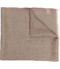 brunello cucinelli lightweight frayed-edge scarf - neutrals