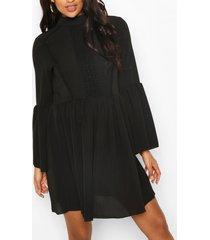 maternity boho crochet smock dress, black