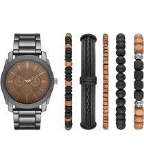 folio men's gunmetal bracelet watch & bracelets gift set 45mm