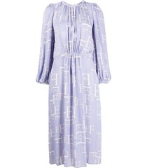 elisabetta franchi all-over logo print midi dress - purple