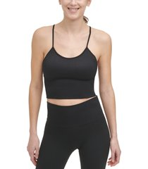 women's dkny seamless rib crop camisole, size medium - black