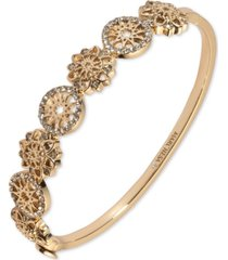 marchesa gold-tone crystal openwork disc bangle bracelet