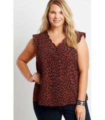 maurices plus size womens leopard scalloped neck blouse brown