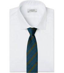 cravatta su misura, lanieri, regimental riga regular blu e verde selvaggio, quattro stagioni | lanieri