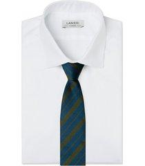 cravatta su misura, lanieri, regimental riga regular blu e verde selvaggio, quattro stagioni