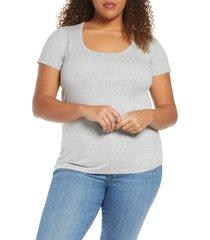 plus size women's caslon short sleeve scoop neck tee, size 2x - grey