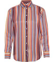 d1. multistriped viscose shirt overhemd met lange mouwen multi/patroon gant
