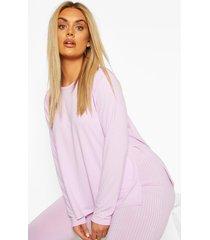 plus jumbo rib side split shirt, lilac