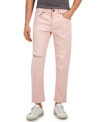 inc international concepts men's pink tapered jeans, created for macy's