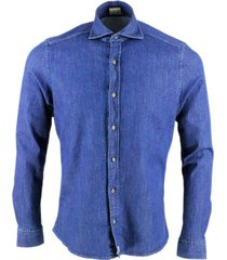 sonrisa luxury shirt in soft and precious stretch denim with french collar and buttons in worked metal effect
