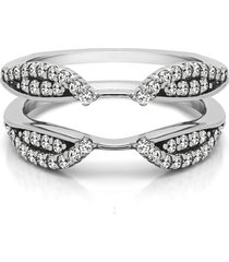 white gold fn bridal diamond wedding engagement jacket guard ring wrap enhancer