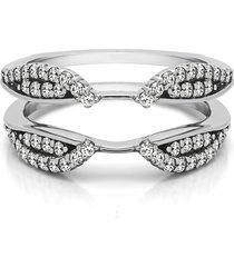 white gold fn bridal diamond wedding engagement jacket guard ring wrap enhancer