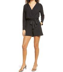 women's fraiche by j tie waist satin romper, size medium - black