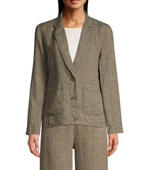 eileen fisher women's organic linen notch-collar shaped blazer - khaki - size xs