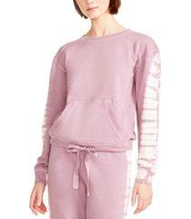 madden girl juniors' tie-dyed drawstring hem sweatshirt