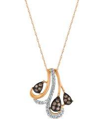le vian women's chocolatier® 14k strawberry gold®, chocolate diamonds® & vanilla diamonds® pendant necklace