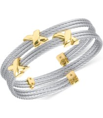 charriol twist cable wrap bracelet in stainless steel & gold-tone pvd