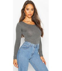 basic round neck long sleeve top, charcoal