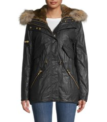 sam women's mini tribeca rabbit fur-vest & fox fur-hood parka - carbon - size s