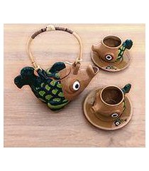 ceramic tea set, 'timang trout' (set for 2) (indonesia)