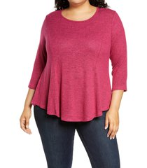 plus size women's bobeau brushed knit babydoll top, size 3x - pink