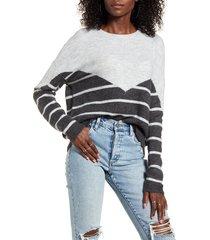 women's vero moda colorblock stripe sweater, size medium - grey