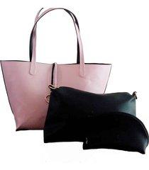 bolso fe style creative reversible para dama - rosado con negro