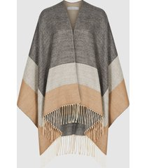 reiss gia - colour block poncho in camel, womens