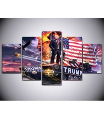 5 pcs donald trump american flag tank painting print canvas wall art home décor